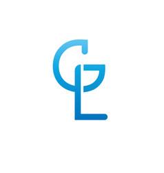 Monogram letters g l logo design template vector
