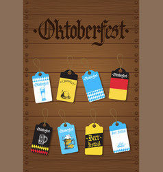 oktoberfest tags set german beer festival flyer vector image