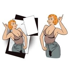 People in retro style Girl gesture mentor teacher vector