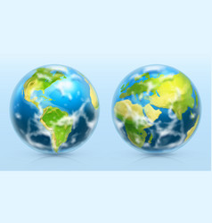 planet earth 3d realistic icon set vector image