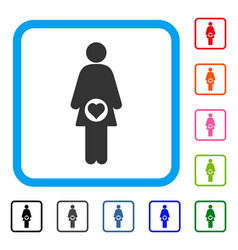 pregnant woman framed icon vector image