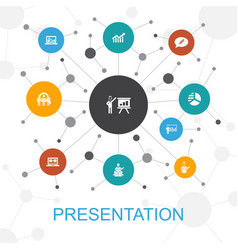 Presentation trendy web concept with icons vector