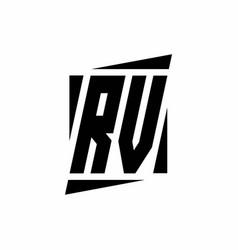 Rv logo monogram with modern style concept design vector
