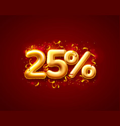 Sale 25 off ballon number on red background vector
