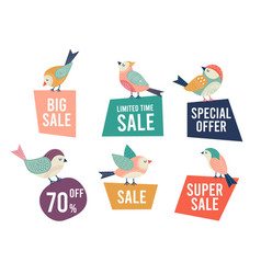 sale banners and doodle birds bird holding vector image