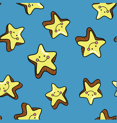 seamless pattern with cute smiling stars on blue vector image