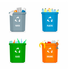 set of garbage box background flat style vector image