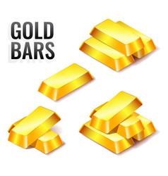 set of gold bars icon isolated on white vector image