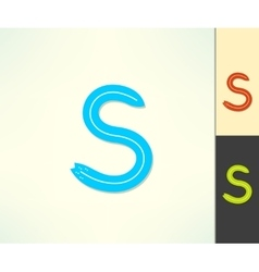 Set of letter S surfing label and logo made vector