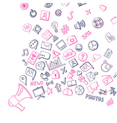 Social media hand drawn elements flying out vector