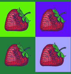 Strawberry pop art style andy warhol style vector