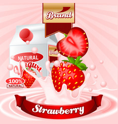 Strawberry yogurt ads splashing scene vector