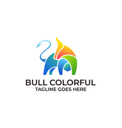 strong bull colorful design concept template vector image
