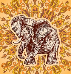 Stylized fantasy patterned elephant Hand drawn vector