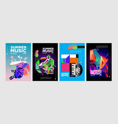 Summer colorful art and music festival banner vector
