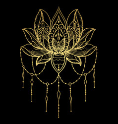 Tattoo of the golden lotus vector