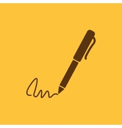 The signature icon Pen and undersign underwrite vector image