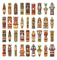 Tiki idols icon set cartoon style vector