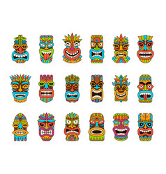 Tiki masks tribal hawaii totem african vector