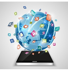 Touchscreen smartphone globe and social media vector image