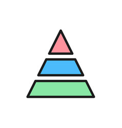 triangular graph flat color icon isolated on vector image