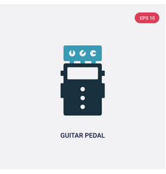 Two color guitar pedal icon from music concept vector