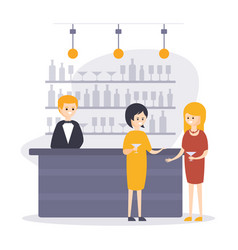 two women drinking cocktails at bar counter vector image