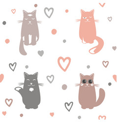 valentine day background with cats and hearts vector image