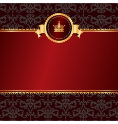 Vintage red background with frame of golden vector