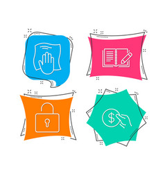 washing cloth lock and feedback icons payment vector image