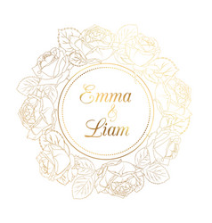 wedding invitation rose peony wreath golden shiny vector image