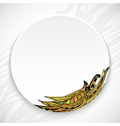 White plate with leaf ornament tribal style vector