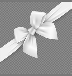White realistic 3d bow and ribbon with clipping vector