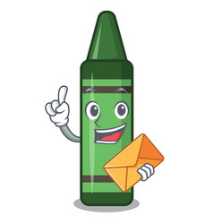 with envelope green crayon isolated in cartoon vector image
