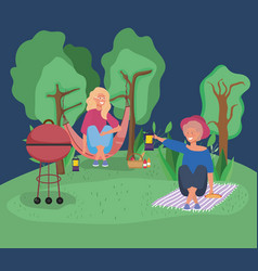 woman in hammock and other with lantern picnic vector image
