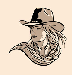 Woman with a cowboy hat cowboy girl face portrait vector