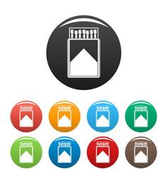 wood matchbox icons set color vector image