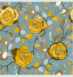 yellow and blue floral pattern wallpaper vector image