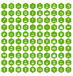 100 hairdresser icons hexagon green vector