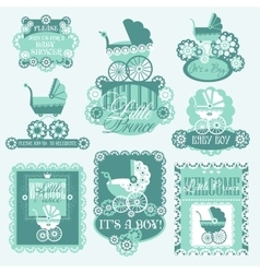 Baby shover set with prams vector image vector image