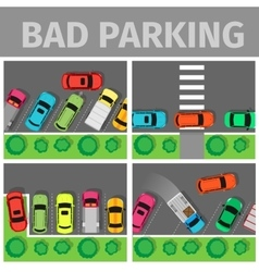 Bad Parking Set Car Parked in Inappropriate Way vector image vector image