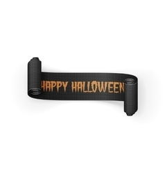 Happy Halloween Text on scroll greeting Ribbon vector image