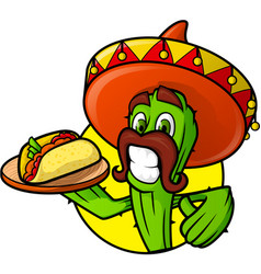 mexican cactus with taco vector image vector image