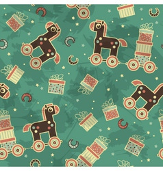 seamless pattern with horses and gifts vector image