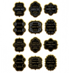 set of gold and black labels vector image