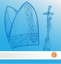vatican symbolS with argentina flag vector image