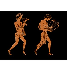 ancient Greek musicians vector image