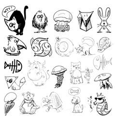 Animals sketch vector image vector image