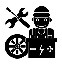 auto mechanic - battery wheel - screwdriver and vector image