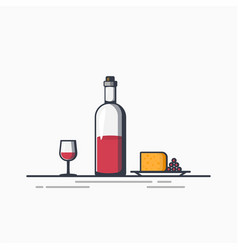 bottle of wine an cheese vector image